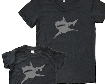 Mother Son Matching Shark Shirts - Mommy and Me Matching Shirts, Tshirt Set - T shirt gift, mom child, mom shirt, mother son, boy christmas