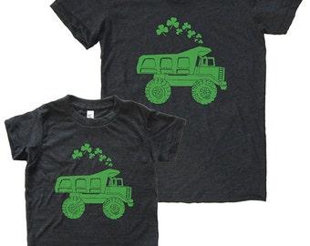 St Patricks Day Mother Son Matching Dump Truck Shamrock Shirts - Mommy and Me Shirts, Tshirt Set T shirt gift, mom shirt, mother son, boy