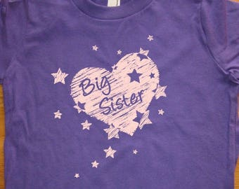 Big Sister Shirt - 8 Colors Available - Hearts & Stars Sibling New Baby Announcement Kids T shirt Sizes 2T, 4T, 6, 8, 10, 12 - Gift Friendly
