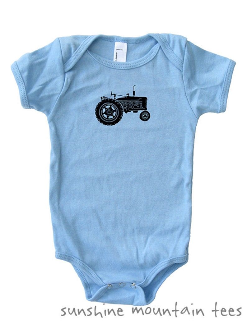 12-18 month Baby Shirt 3-6 month Tractor Farm Baby Bodysuit 6-12 month and 18-24 month Green Pink Blue Gift Tractor Baby Shirt