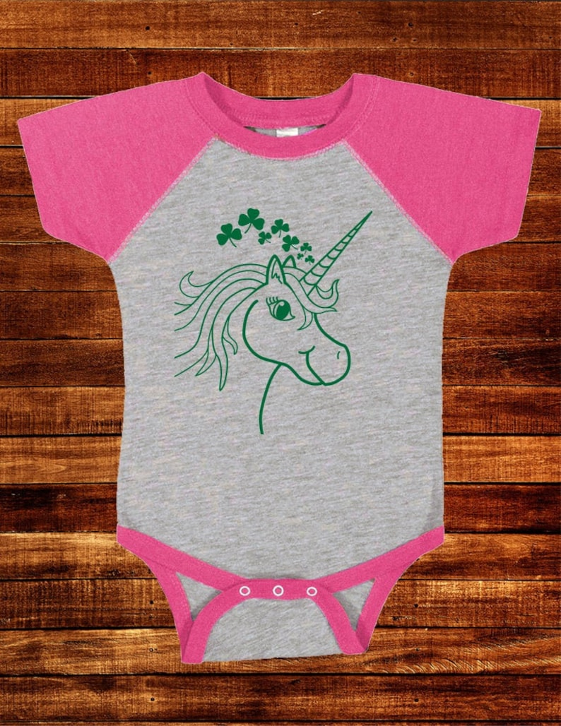 Tee Baseball Sleeve Saint Patricks Day Infant One Piece St Patricks Day Shirt Baby Unicorn Shamrocks Shirt Infant Green Raglan T Shirt