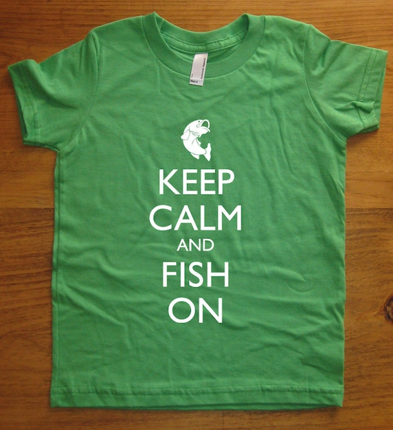 a3a846097 Fishing Kids T Shirt Keep Calm and Fish On 7 Colors | Etsy