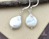 White coin pearl earrings, natural genuine freshwater drop shape pearl, sterling silver lever back ear wires, dangle earrings E140S