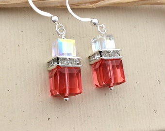 362d0dbe8 Padparadscha crystal cube earrings, AB aurora borealis Swarovski crystal  dangles, squaredelle accents, modern bling jewelry E520B
