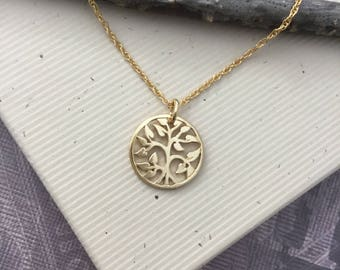 Gold Tree of Life pendant necklace, 14kt gold vermeil, family tree, everyday jewelry, inspirational jewelry, gift for mom N402G