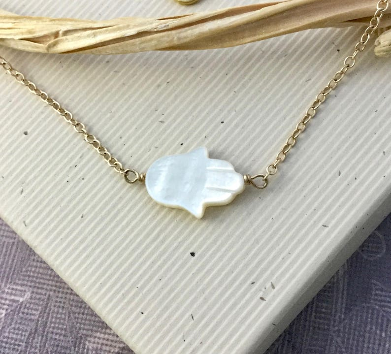 Mother of pearl Hamsa hand necklace Hand of Fatima sideways charm protection amulet Talisman jewelry N347S sterling silver chain choker