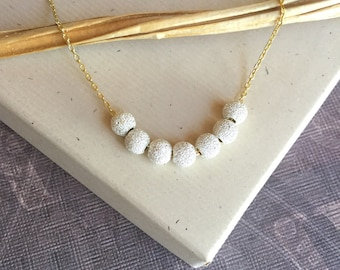 Dainty stardust bead necklace 5mm, mixed metal, minimalist sterling silver and gold vermeil jewelry, 7 sparkle beads N253