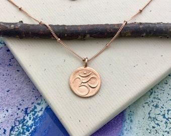 Rose gold om necklace with 18 inch satellite chain, ohm aum charm, yoga, namaste, mindfulness, minimalist, everyday jewelry N135