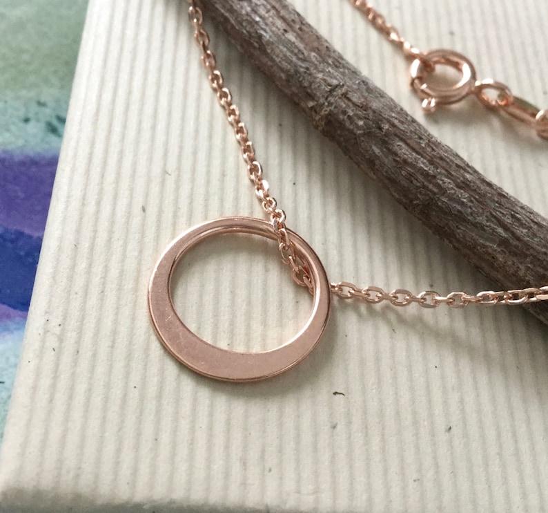 14mm ring 16 yoga Rose gold circle necklace eternity karma mindfulness 18 20 or 24 layering N274 minimalist everyday jewelry