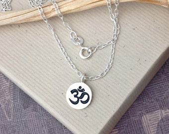 Sterling silver om charm necklace, ohm aum sanskrit, woman's yoga jewelry, round silver charm, N146