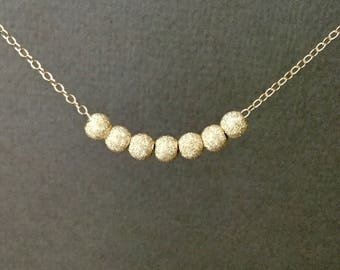 Floating stardust bead chain necklace 5mm, all 14kt gold filled, dainty, minimalist, with 7 sparkle beads N358