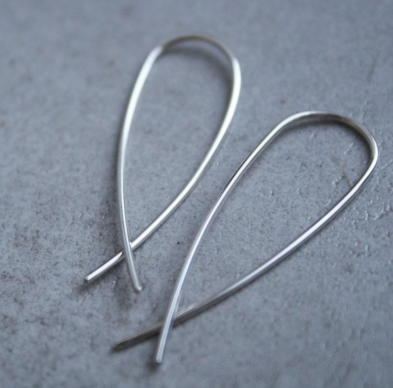 minimalist ear hooks  arc earrings  fish earring  silver hook earrings  solid silver wire dangles