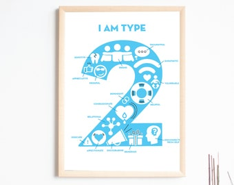"""Enneagram TWO Print - """"I Am Type 2"""" - Just My Ennea Type Collaboration"""