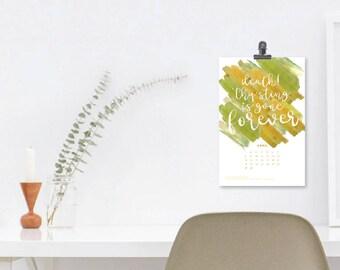 "2018 ""Hip Hymns"" Mini Calendar - Hand Lettering & Digital Watercolors"