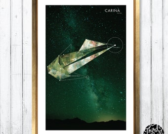 Carina Constellation Map Print (11x17)