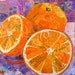 "KATHY SWARTELE reviewed SLICES of SUNSHINE Original Paper Collage Oranges Painting 6 X 6"" on Gallery wrapped canvas"