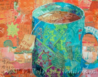 "CHAI TEA Original Paper Collage Painting 6 X 6"" on Gallery Wrapped Canvas"