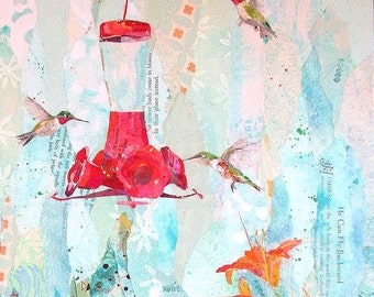 """GARDEN PARTY Original Torn Paper Collage Hummingbird Flower Painting 24 X 12"""" on Gallery wrapped canvas"""