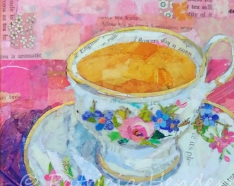 "TEA AT GRANDMA'S Original Paper Collage Tea Cup Painting 6"" X 6"" X 1.5"" on Gallery wrapped canvas"