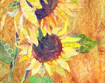 "YOU Are My SUNSHINE Original 36"" X 12"" X 1.5"" Sunflower paper collage painting on canvas"