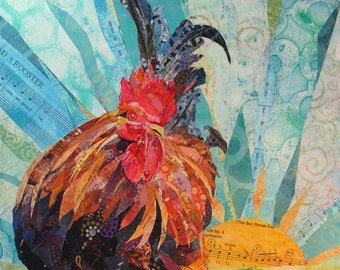 """EARLY RISER Original 16"""" X 12"""" X 1.5"""" Rooster Paper Collage painting on canvas"""