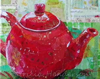 "I'M a LITTLE TEAPOT Original Paper Collage Teapot Painting 6 X 6"" on Gallery wrapped canvas"