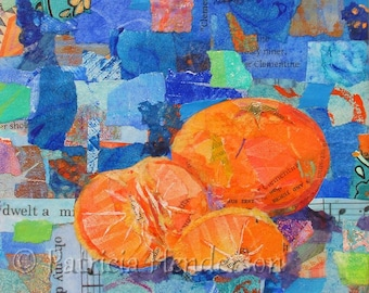 """CLEMENTINES Original Paper Collage Orange Painting 6 X 6"""" on Gallery wrapped canvas"""