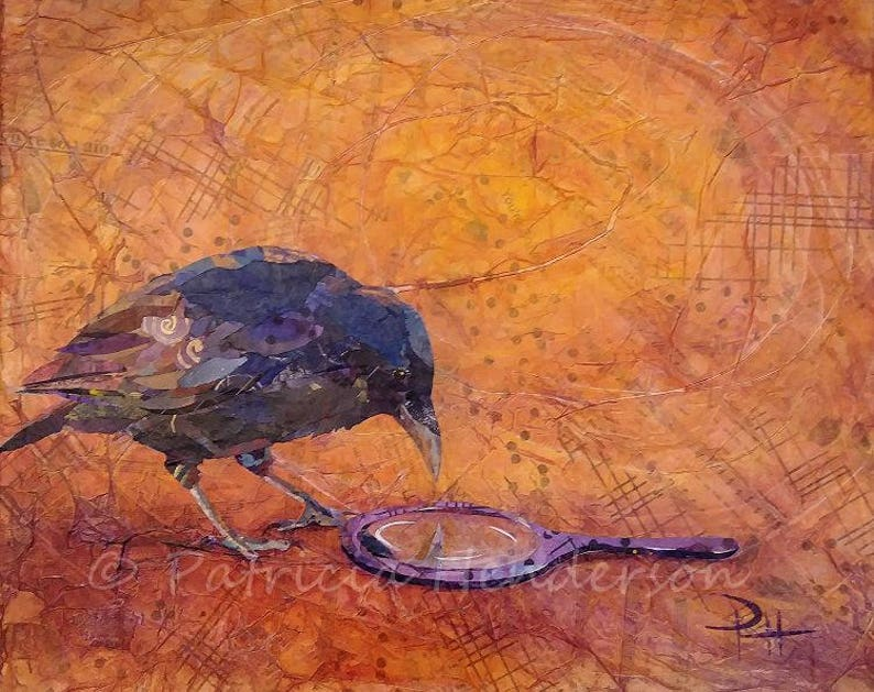 YOU'RE So VAIN Original Paper Collage Crow Painting 16 X image 0