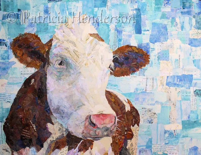 LACTOSE TOLERANT Original Collage Cow Painting 18 X 24 image 0