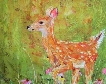 """FLORA AND FAWN  Large Original Torn Paper Collage Deer Mixed Media Painting 36"""" X 24"""" on Gallery Wrapped 1.5"""" deep canvas"""