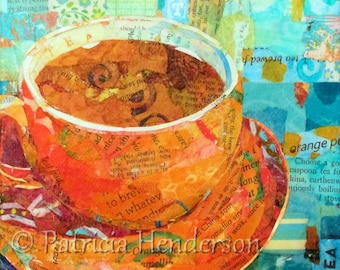 "ORANGE PEKOE Original Paper Collage Tea Cup Painting 6 X 6"" on Gallery Wrapped Canvas"
