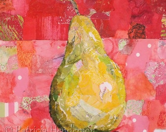 "PEAR SHAPED Original Paper Collage Painting 6 X 6"" on Gallery Wrapped Canvas"