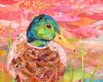 "JUST DUCKY Original Paper Collage Mallard Duck Painting 10 X 8"" on Gallery wrapped Canvas"