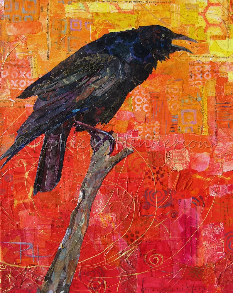 CLARION CALL  Original Paper Collage CROW Painting 20 X image 0