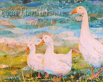 "DUCK, DUCK, GOOSE Original Paper Collage Painting 12 X 24"" on Gallery wrapped Canvas"