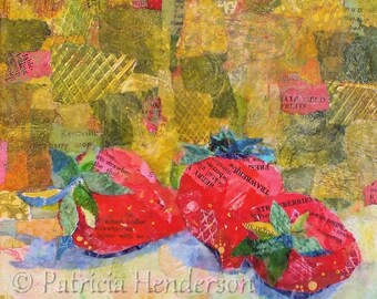 "STRAWBERRIES ON GREEN Original Paper Collage Painting 6 X 6"" on Gallery wrapped canvas"