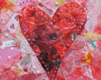 """HEARTS AND FLOWERS Valentine Paper Collage 6 X 6"""""""