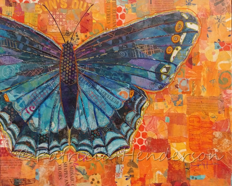 BIG BLUE BUTTERFLY Original Paper Collage Painting 16 X 20 X image 0
