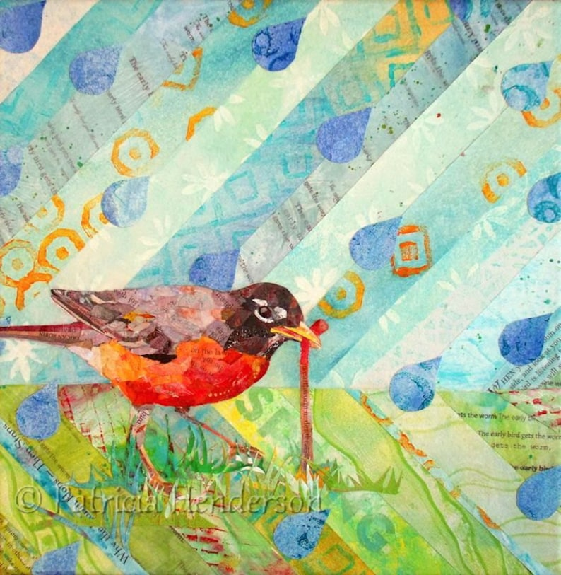 THE EARLY BIRD Original Torn Paper Robin Songbird Collage 12 X image 0