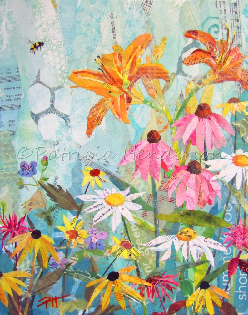 SWEET SUMMER Original Paper Collage FLORAL Painting 14 X image 0