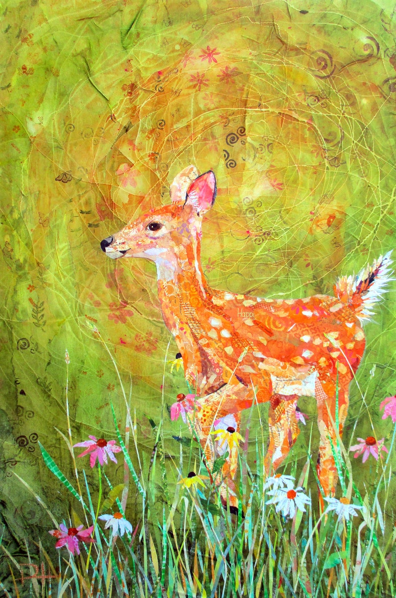 FLORA AND FAWN  Large Original Torn Paper Collage Deer Mixed image 0