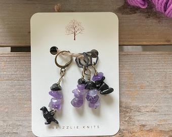 Fall Knitting Progress Keeper and Stitch Marker Set, Knitting Notions, Gemstone Accessory, Fibre Arts, *I just cawed to say I love you*
