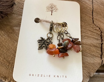 Fall Knitting Progress Keeper and Stitch Marker Set, Knitting Notions, Gemstone Accessory, Fibre Arts, *Autumn Is My Favourite Colour*