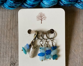 Swimming Knitting Progress Keeper and Stitch Marker Set, Knitting Notions, Crochet, Gemstone Accessory, Fibre Arts, *Summertime*