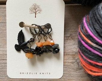 Fall Knitting Progress Keeper and Stitch Marker Set, Knitting Notions, Gemstone Accessory, Fibre Arts, *Raven Moon*