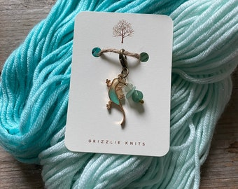 Chameleon Knitting Progress Keeper, Knitting Stitch Marker,Knitting Notion, Gemstone Knitting Accessory, Fibre Arts, *Time May Change Me*