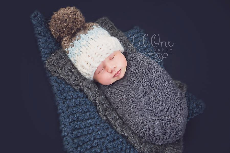 fcf809e184c Fair Isle Baby Chunky Hat with Pom Pom in Glacier Barely and