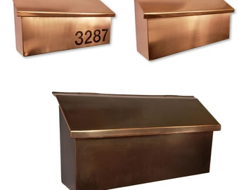 Wall Mount Copper Mailbox Patina  copper mailbox house numbers Solid copper mailbox Brushed copper mailbox