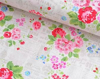 19,-  EUR/m Lakehouse Holly Holderman Pam Kitty Garden Baumwollstoff Blumen Pink Rosa Grau