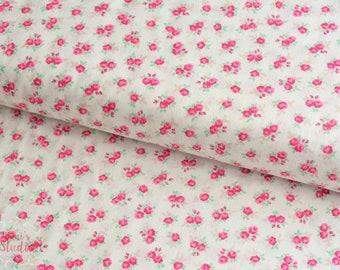 19,-  EUR/m Moda Guest Room Baumwollstoff natur Blümchen Pink Rosenstoff Millefleur Patchworkstoff Sweet Floral White